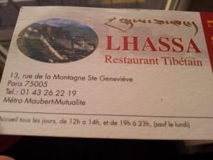 Lhassa Resto Paris